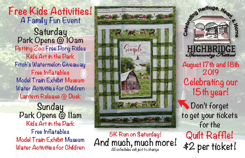 Aug 17&18 High Bridge Homecoming Festival!