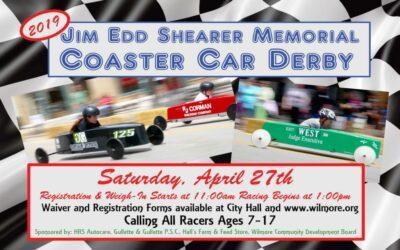 5th Annual Jim Edd Shearer Memorial Coaster Car Derby on Sat., April 27!