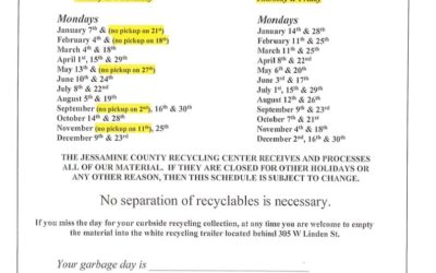 NEW 2019 RECYCLING SCHEDULE (REVERSAL)